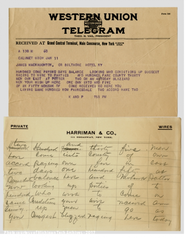 Image of two telegram sheets