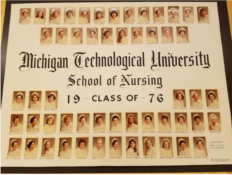Image of uniformed nursing graduates.