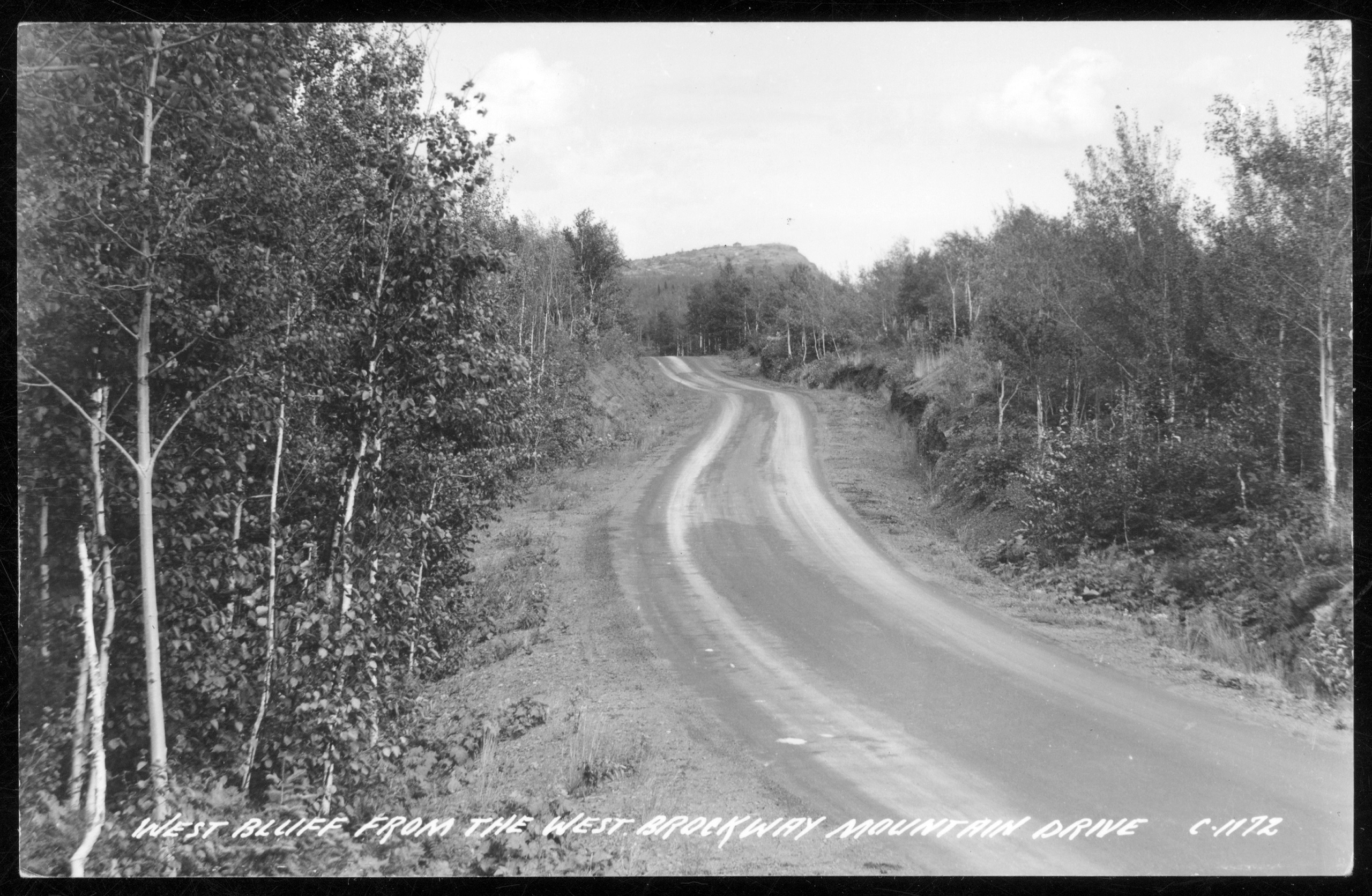 Image of road leading up to forested hill