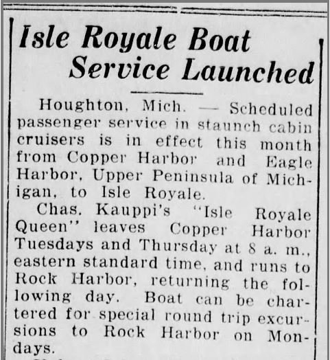 "Newspaper headline: ""Isle Royale Boat Service Launched"""