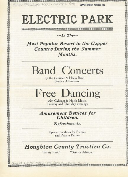 An advertisement for band concerts and free dancing at Electric Park