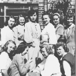 Coeds from assorted majors who took Dr. San Clement's class in Blood and Urine Analysis in 1949