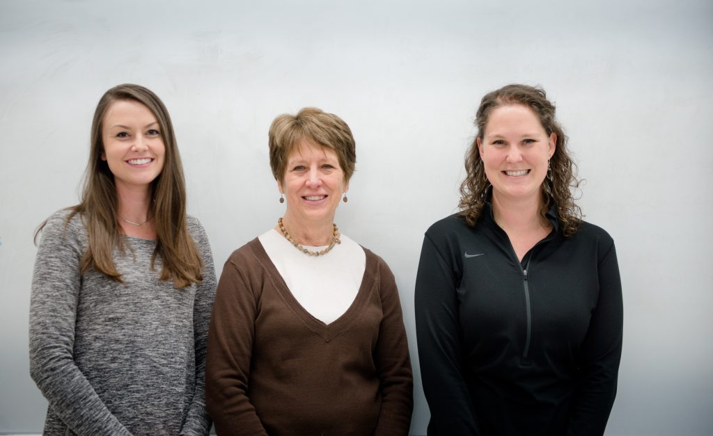MLS Faculty & Staff: Kelsey Johnson (MLS Clinical Practicum Coordinator), Karyn Fay (MLS Program Director), Brigitte Morin (Lecturer)