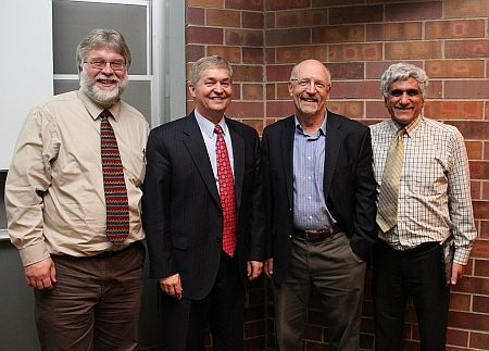 Richard B. Brown, Ph.D., Dean of Engineering, University of Utah, Salt Lake City presented a seminar at Michigan  Title: Instrumenting the Human Body; Shown here 2nd from left with Michigan Tech faculty, Paul Bergstrom, ECE Chair Daniel Fuhrmann and Saeid Nooshabadi