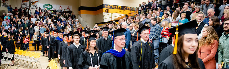 Procession and audience in during commencement.
