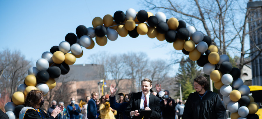 Commencement activity on the campus mall.