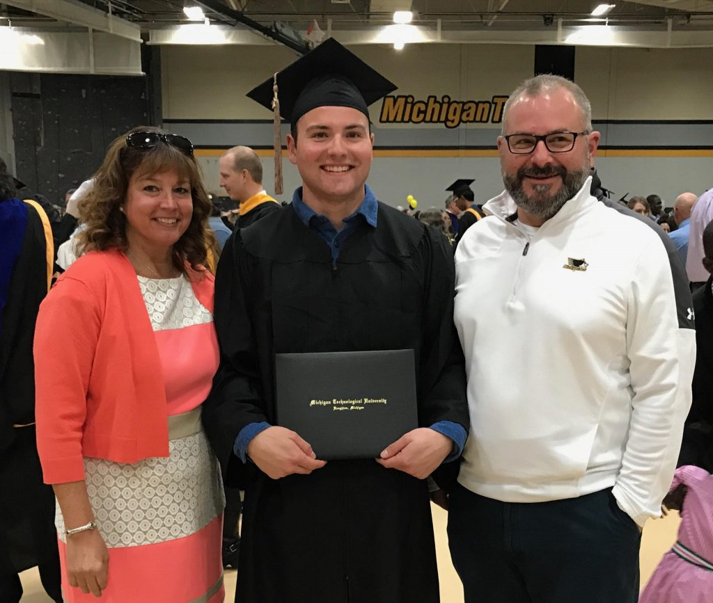 Tim commencement with parents