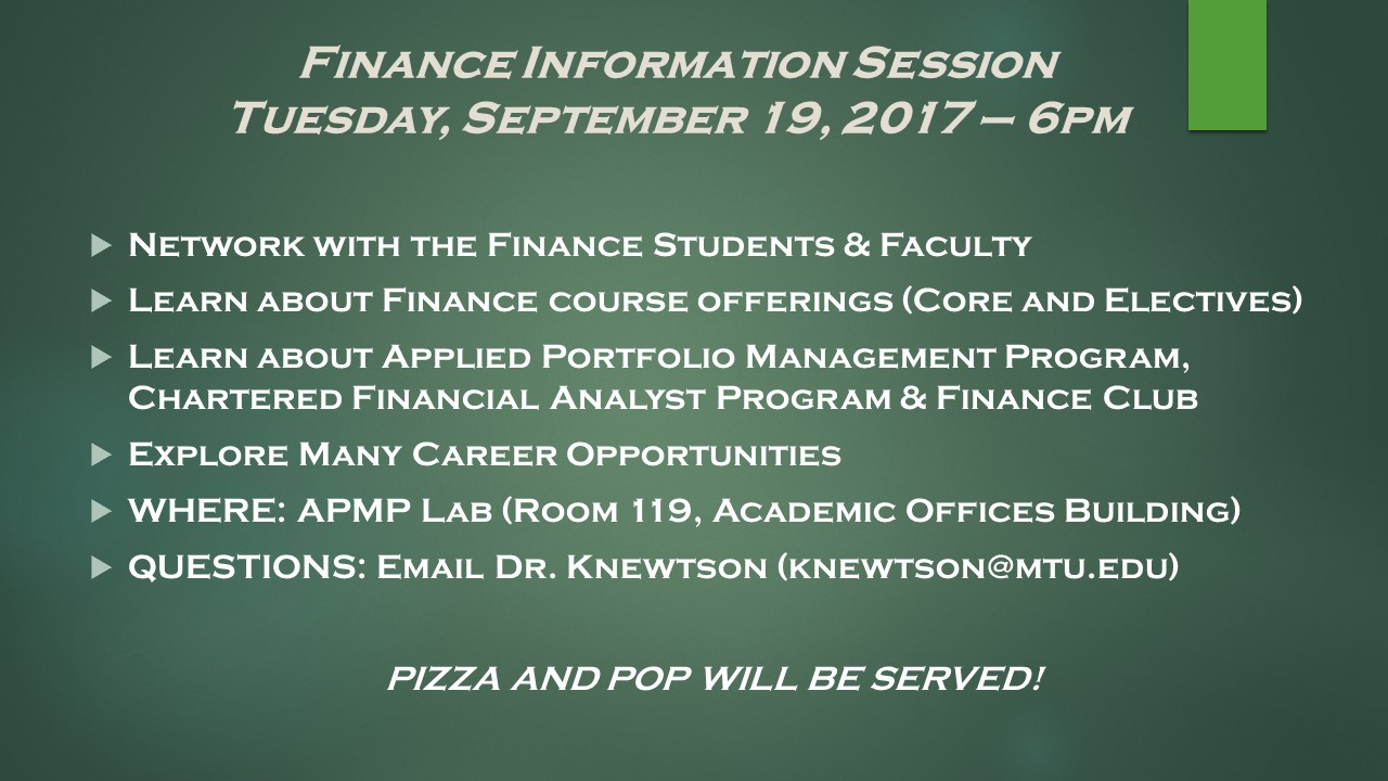 Finance Information Session