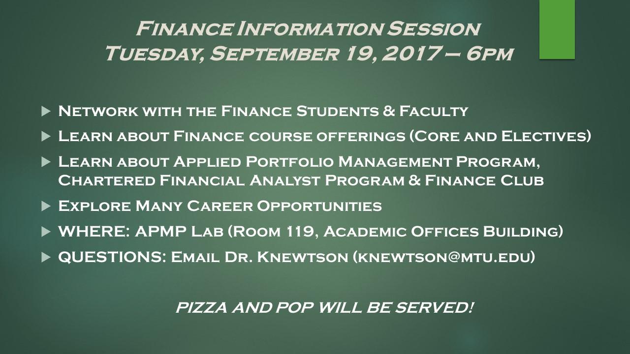 Finance Information Session