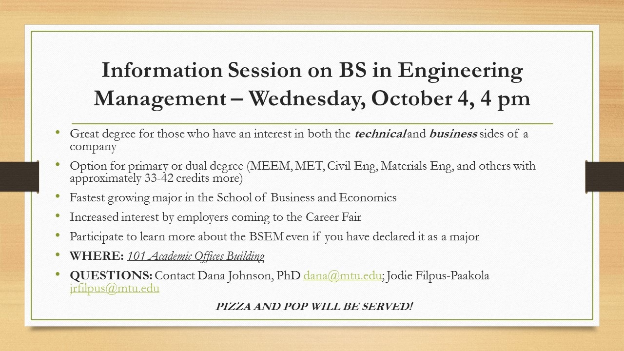 2017 Info Session on BS in Engineering Management
