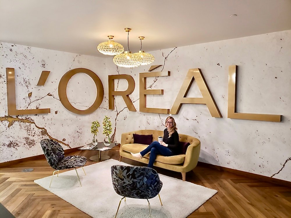 Michigan Tech student Rachel Chard poses in the L'Oreal USA office.