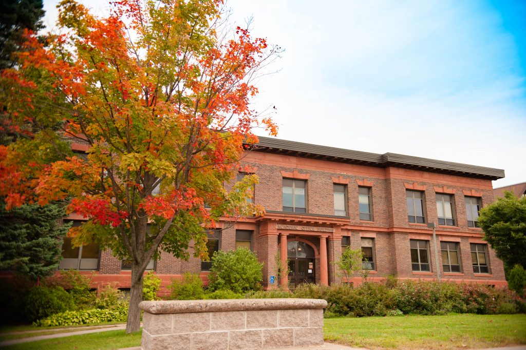 The Academic Office Building at Michigan Tech during the fall season
