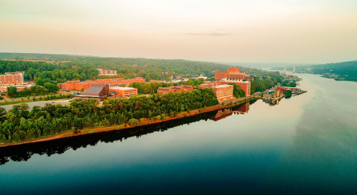 Drone photo of campus and Portage Canal