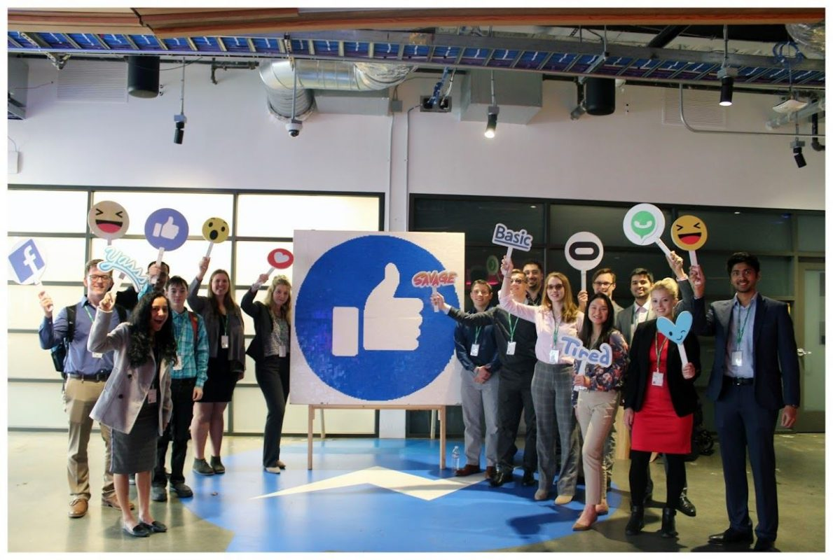 student standing in Facebook headquarters
