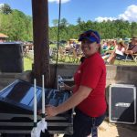 Alex running the light board for the Porterfield Country Music Festival