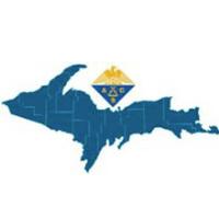Symposium logo, Upper Peninsula of Michigan with a research logo