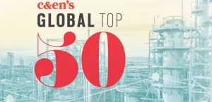 c&en global top 50 over chemical plant backdrop