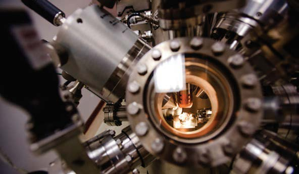 Close view of the inner mechanism of the X-ray photoelectron spectroscopy instrument.
