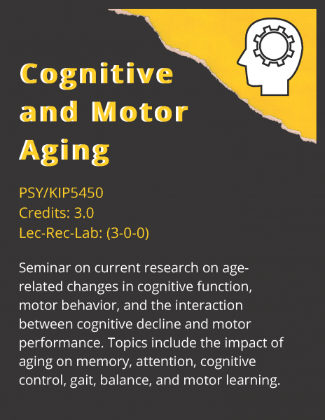 Cognitive and Motor Aging. Seminar on current research on age-related changes in cognitive function, motor behavior, and the interaction between cognitive decline and motor performance. Topics include the impact of aging on memory, attention, cognitive control, gait, balance, and motor learning. 3 Credits. PSY/KIP 5450.