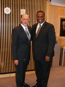 Otha Thornton and Ronald Strickland, Department Chair of Humanities, and Otha Thornton