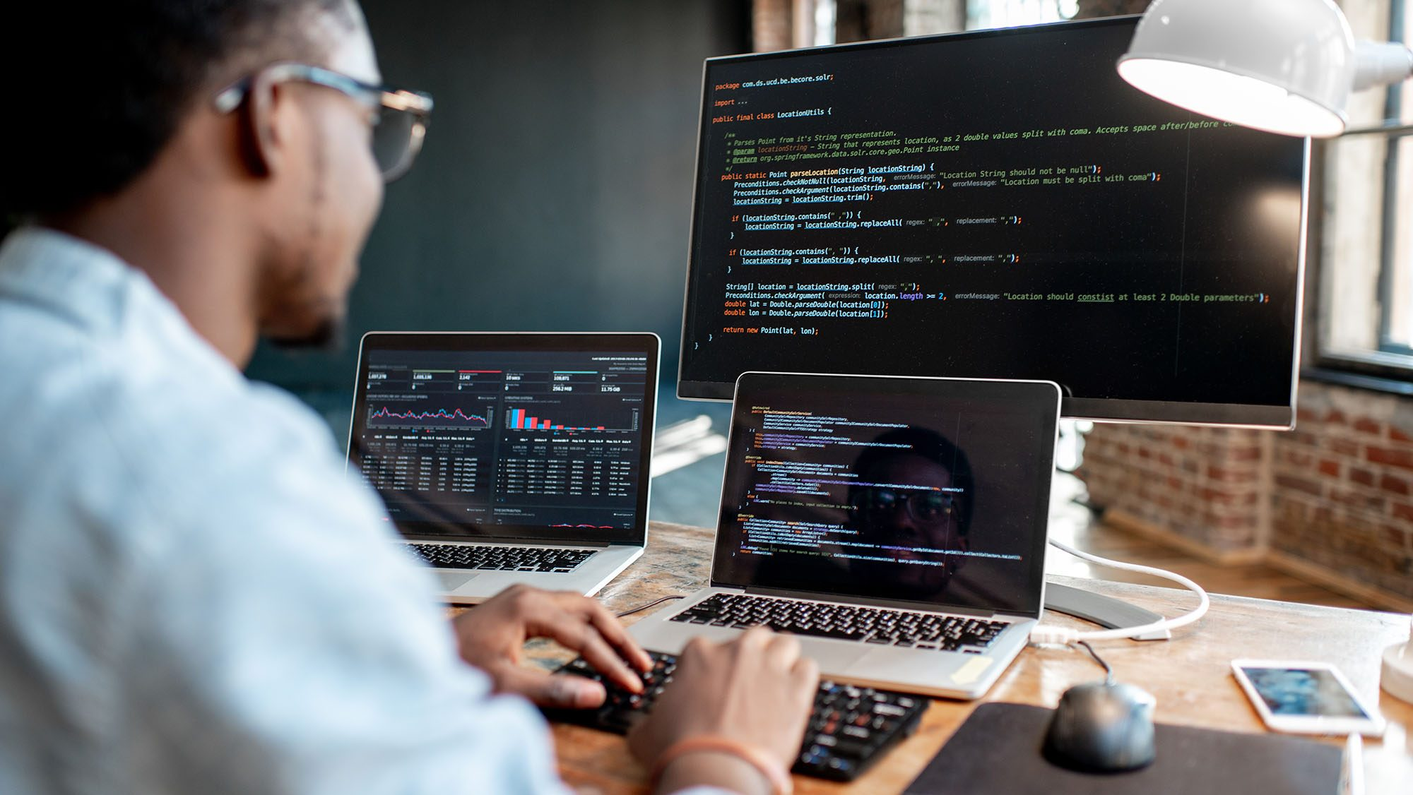 Programmer working with technical seo code
