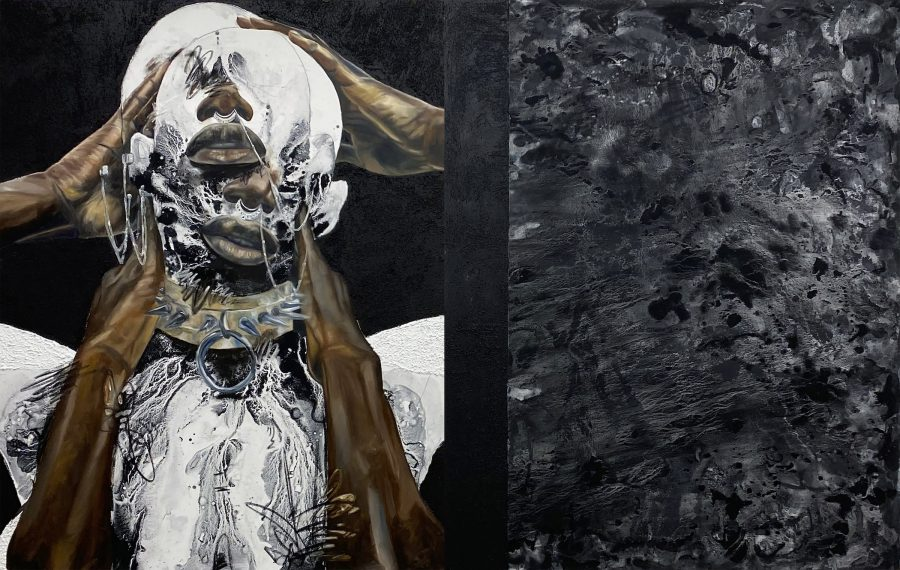 Photo of artwork featuring a young Black man holding two superimposed images of his head. His face is obscured with white and he wears a spiked collar. This image is next to a second black expanse of canvas with no discernable figures.