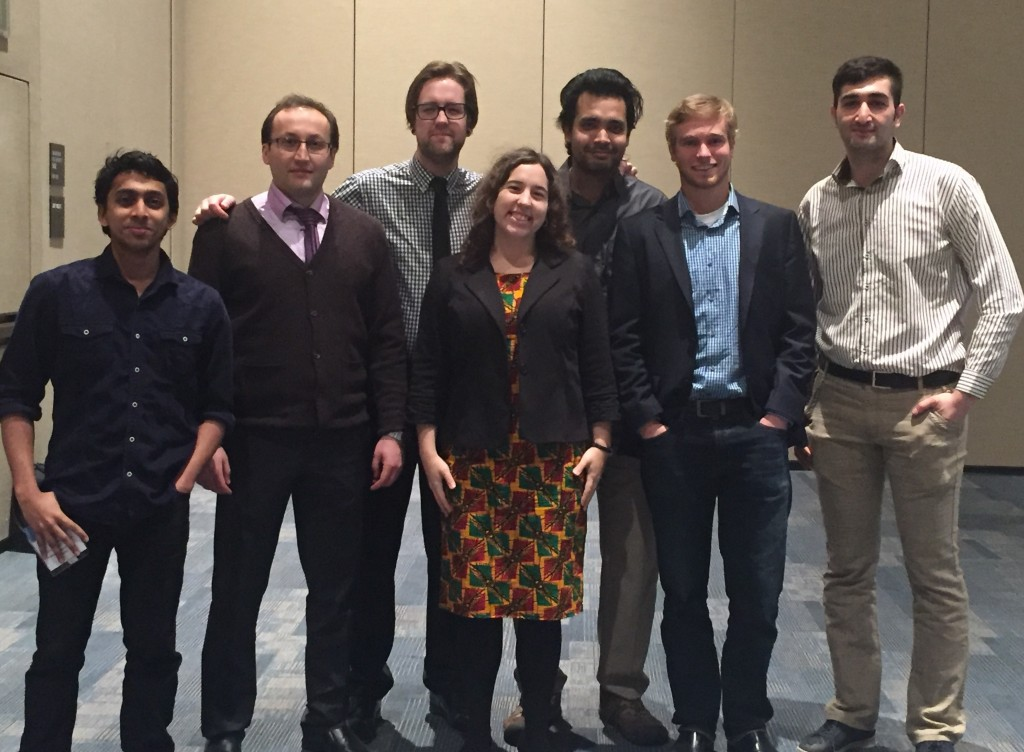 SPIE Photonics West attendees and presenters: (L-R)Abhinav Madhavachandran, Arash Hosseinzadeh, Derek Burrell (SPIE/OSA MTU chapter president, Liz Dreyer (Cloos), Anindya Majumdar, Mitch Kirby, and Nima Taherkhani