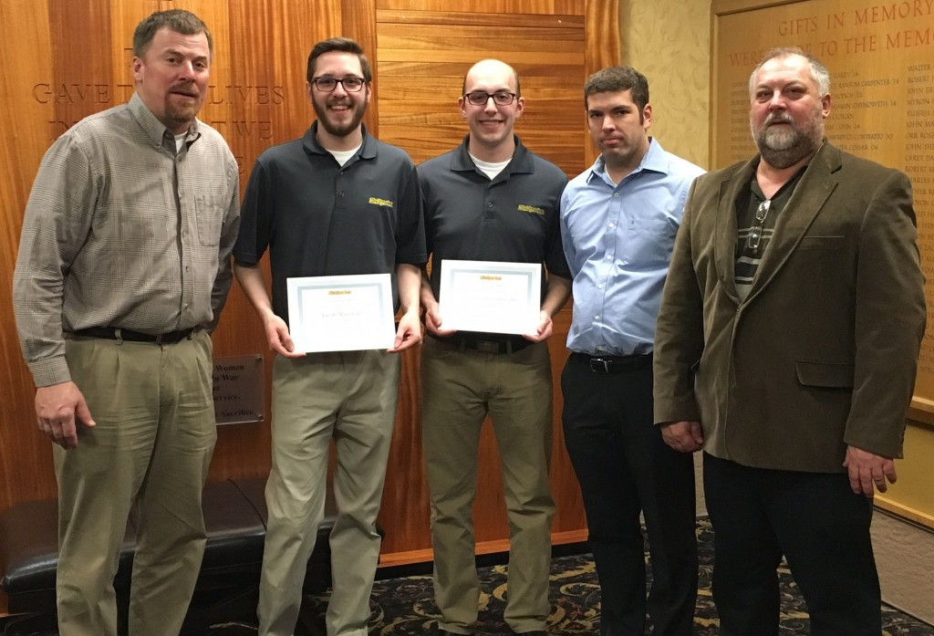 L-R:  ATC's Joe Kysely, SD8 members Jacob Marshall and Kevin Schoenknecht (Troy Johnston not pictured), SD assistant/ECE PhD student Dustin Drumm, and team advisor Prof. John Lukowski