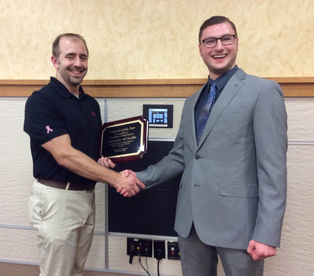 Professor of the Year, Senior Lecturer Kit Cischke, presented by HKN's Matthew Andres