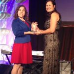 Elizabeth Dreyer (l) receives award from Britta Jost '05