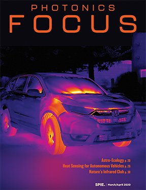 Photonics Focus cover with infrared photo of a car.