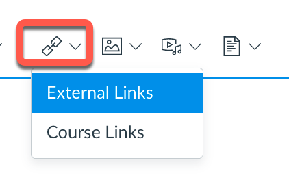 Links tool in Canvas Rich Content Editor