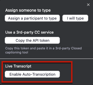 Zoom enable auto-transcription button for the live transcript feature