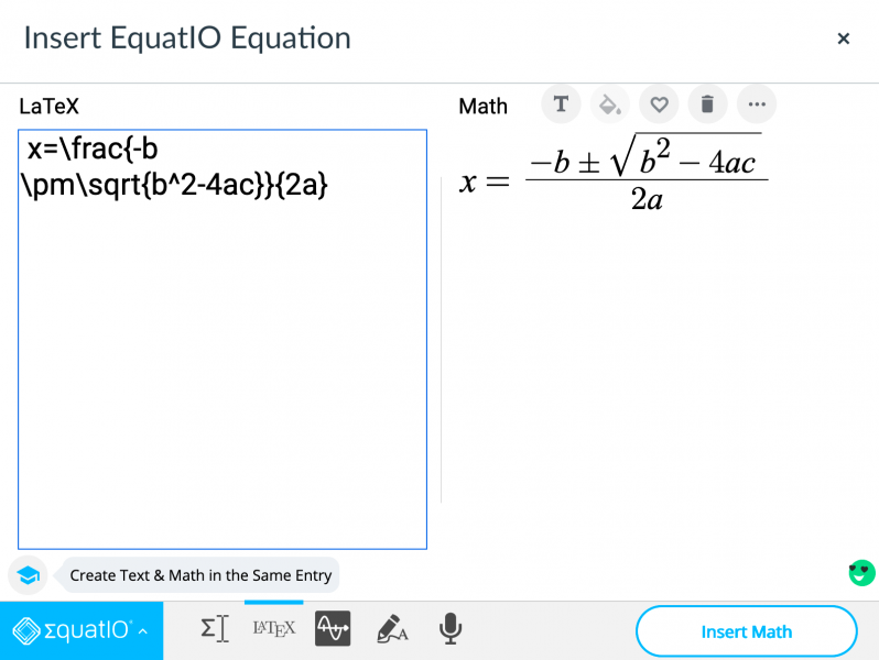 EquatIO insert menu in Canvas