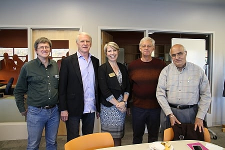 The University celebrated the opening of the Michigan Tech  Pavlis Honors College Innovation Center for Entrepreneurship: Patrick Moore, Dave House, Lorelle Meadows,  Tom Porter and Kanwal Rekhi