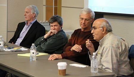 Michigan Tech hosted executives from California's Silicon Valley for a panel discussion: Dave House, Patrick Moore, Tom Porter and Kanwal Rekhi