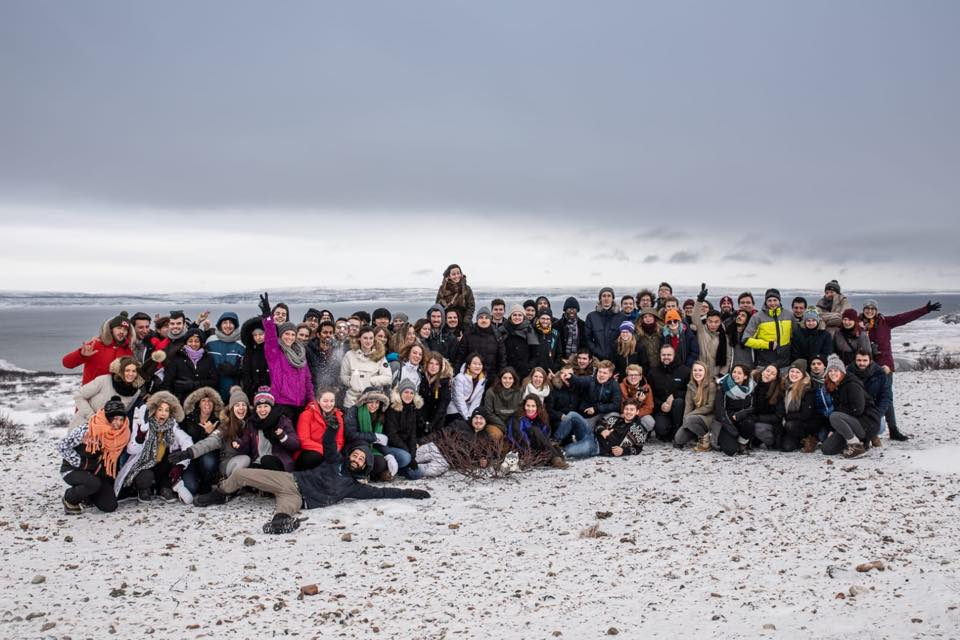 Erasmus Student Network (ESN) gathers international exchange students and Finns in Vaasa, Finland. Shown here on the snowy beach.