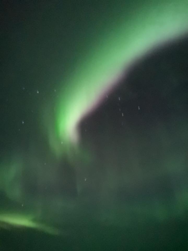 Green and pale purple northern lights in the night sky in Finland