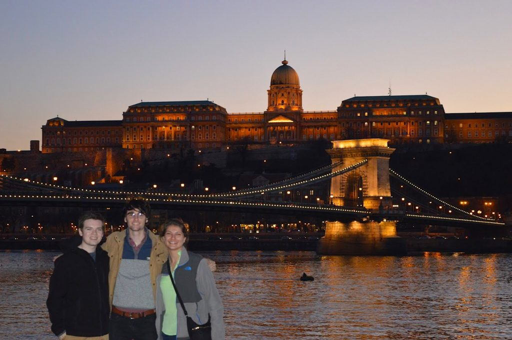Joshua Turner and two fellow ECEA students at the Chain Bridge and Buda Castle in Budapest, Hungary