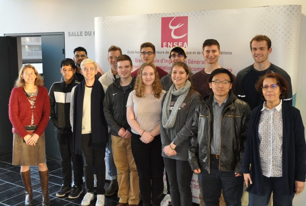 Small group of students and faculty at Spring 2019 Orientation for Study Abroad Students at ENSEA in Cergy, France