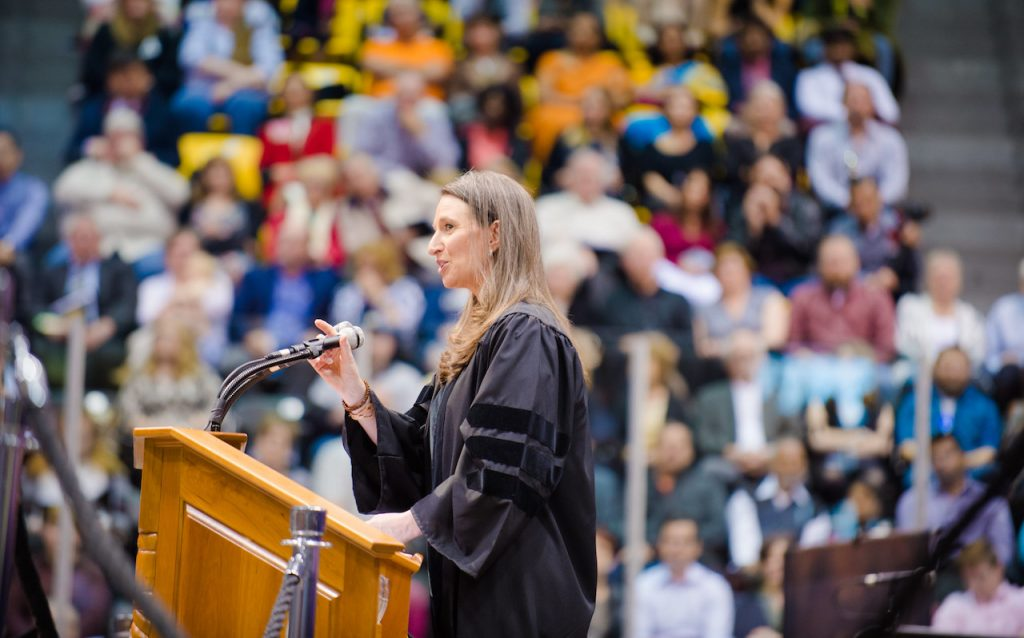 portrait of Paula Wittbrodt at the podium of the spring 2017 Michigan Tech Commencement