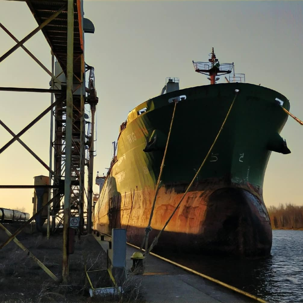 The mighty MV Wigeon tied up at the dock at dawn, in Thunder Bay, Ontario. Photo credit: Thunder Bay Shipping