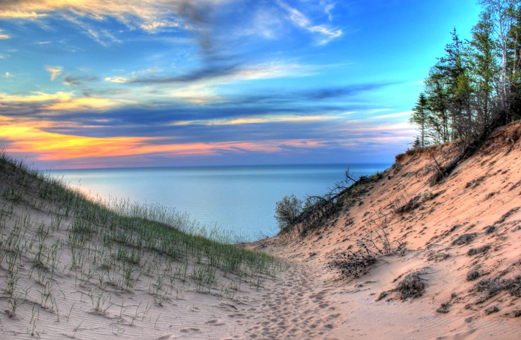 Pictured Rocks National Lakeshore, Lake Superior, between the dunes.