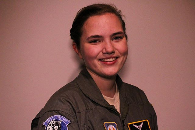 Riley Simpson is shown smiling in her AFROTC uniform.