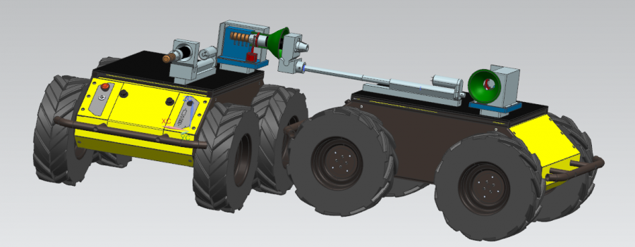 A CAD drawing of the actuator showing two UGVs connected by the coupling and actuating system
