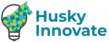 The Husky Innovate logo shows a lightbulb with blue, green and teal dots flowing out in the rough profile of a Husky dog.