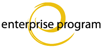 "The Michigan Tech Enterprise Program logo, created over a decade ago by a Michigan Tech student, features a yellow lower case ""e"" in the shape of a swoosh"