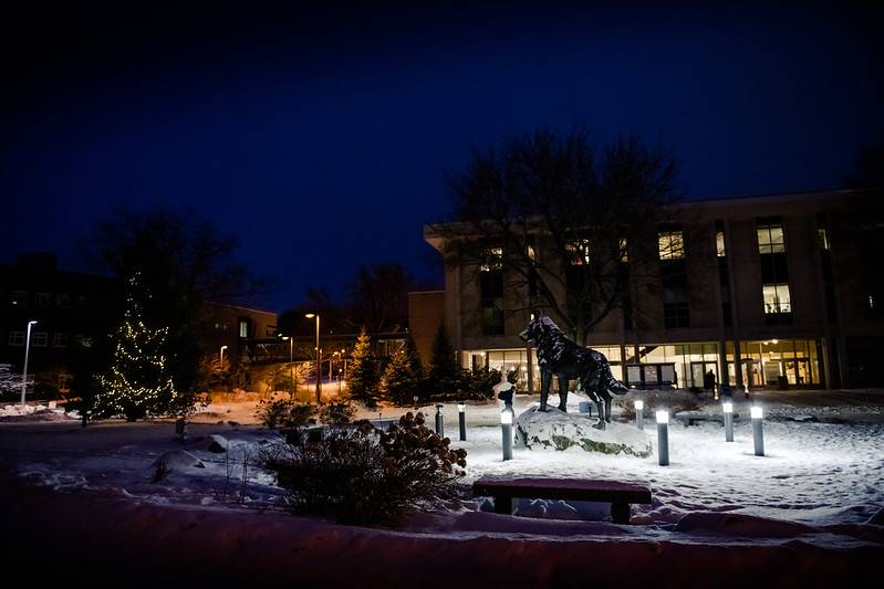 Michigan Tech campus at night in the winter with Husky statue.