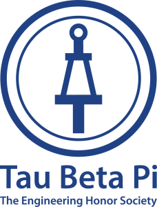 "The new Tau Beta Pi logo in blue, with Tau Beta Pi symbol, ""the bent"" which resembles an old watch winding key."