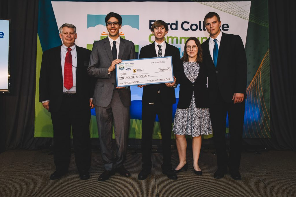 From left: Russ Louks, Paul Torola, Zack Lewis, Sarah Blum and Brandon King accepting their check for $10,000 in grant funding